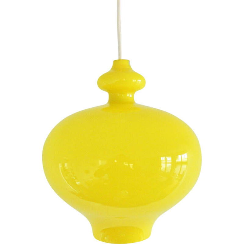 Vintage Yellow glass pendant lamp by Hans Agne Jakobsson for Markaryd, Sweden - 1960s
