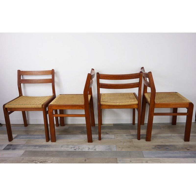 Set Of 4 Vintage Danish Chairs In Teak By Jorgen Henrik Moller   1960s    Design Market