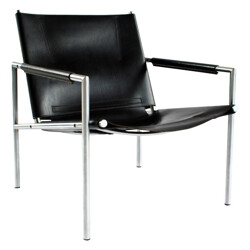 SZ 02 Easy Chair in leather and chrome, Martin VISSER - 1960s