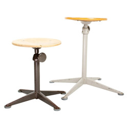 Set of 2 Friso KRAMER stools in wood and metal - 1960s