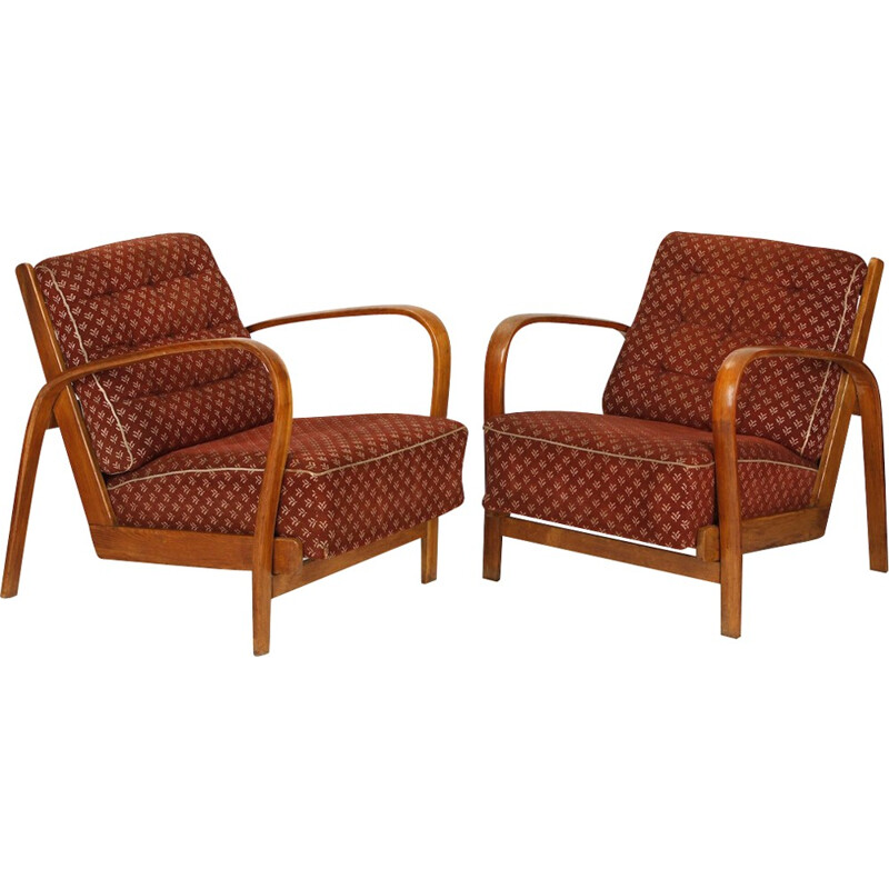 Vintage Armchairs in Wood and Fabric by Kropacek & Kuzelka - 1940s