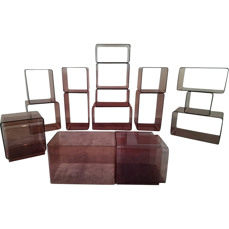 Complete suite of 18 cubes-shelf by Roche Bobois - 1970s