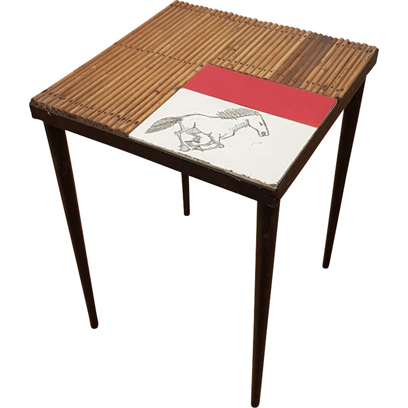 Vintage Ceramic and rattan table - 1950s