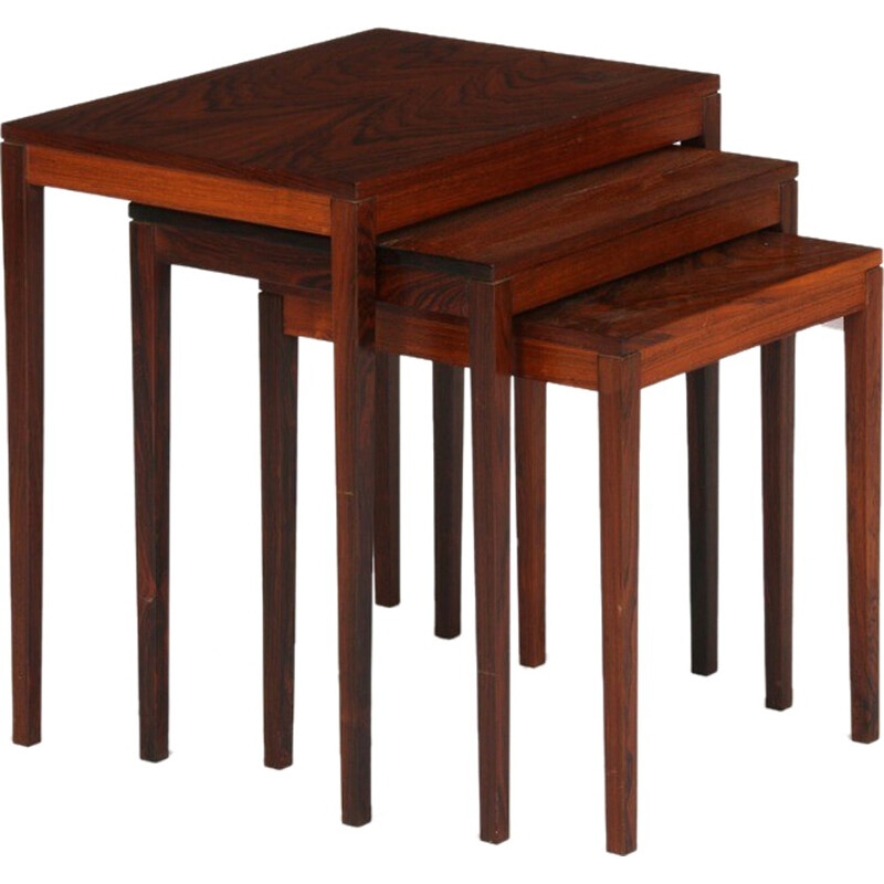Vintage set of 3 rosewood nesting tables - 1960s