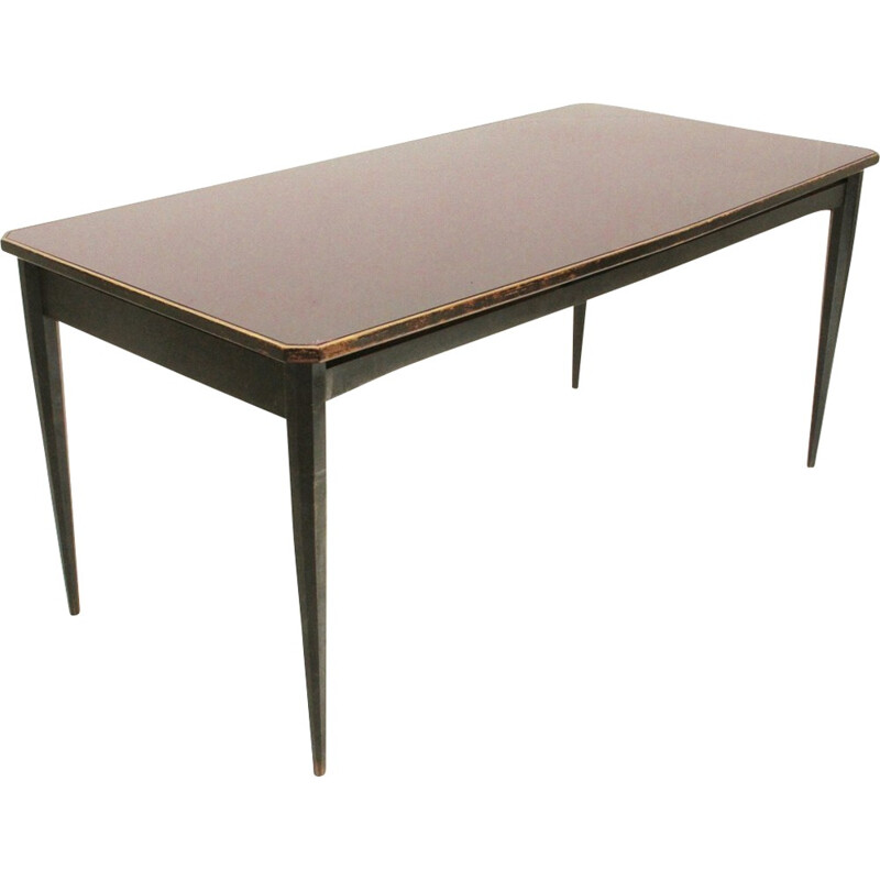 Vintage Italian dining table with glass top - 1960s