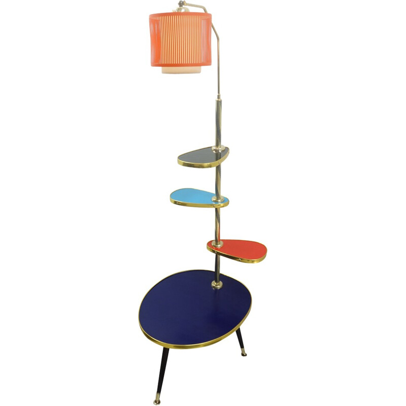 Vintage multi-level table with lamp - 1960s