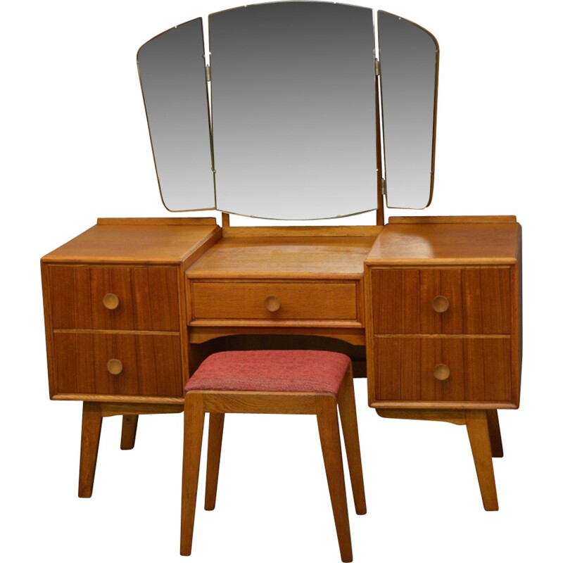 Vintage dressing table and stool in oak and teak by Meredrew - 1960s