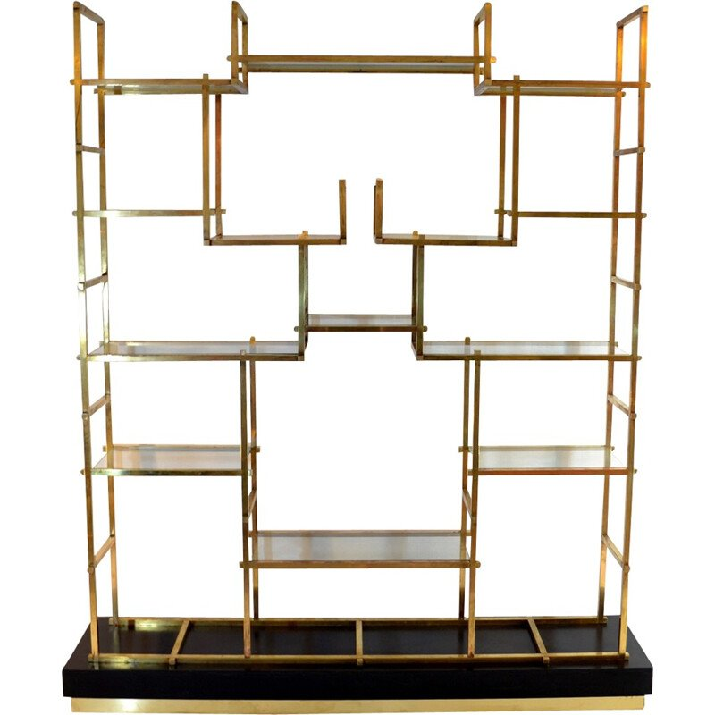 Vintage Large Brass Shelf by Romeo Rega - 1970s