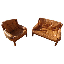 Set of 2 Armchairs and 1 Sofa, Pierre CHAPO - 1970s