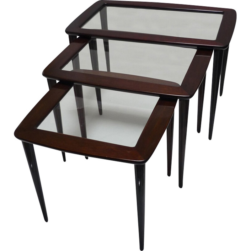Set of 3 nesting tables in mahogany wood with glass trays by Ico Parisi for De Baggis - 1950s