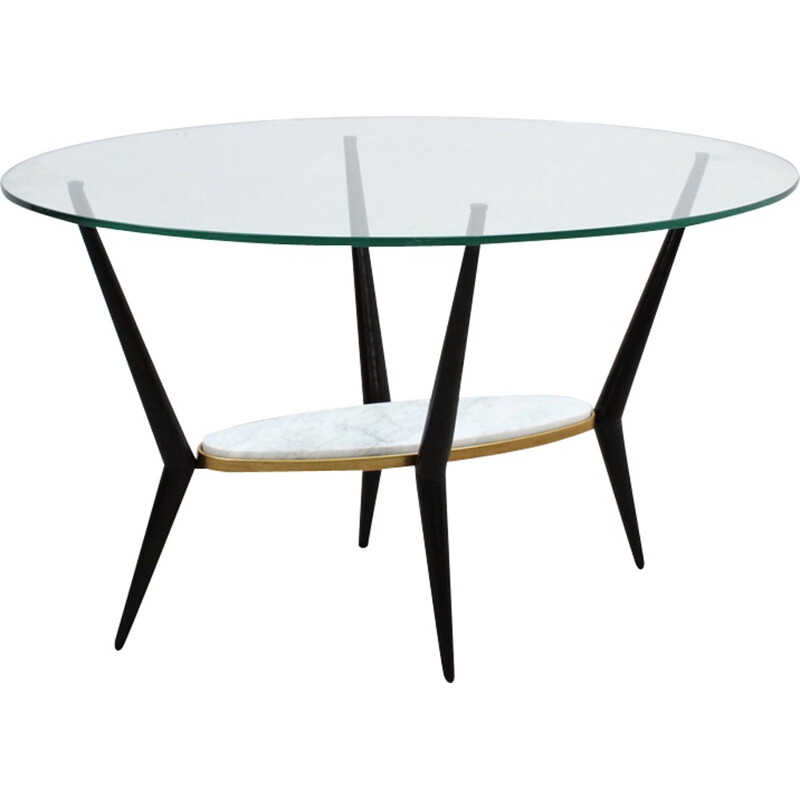 Italian minimalist coffee table in marble and glass - 1950s