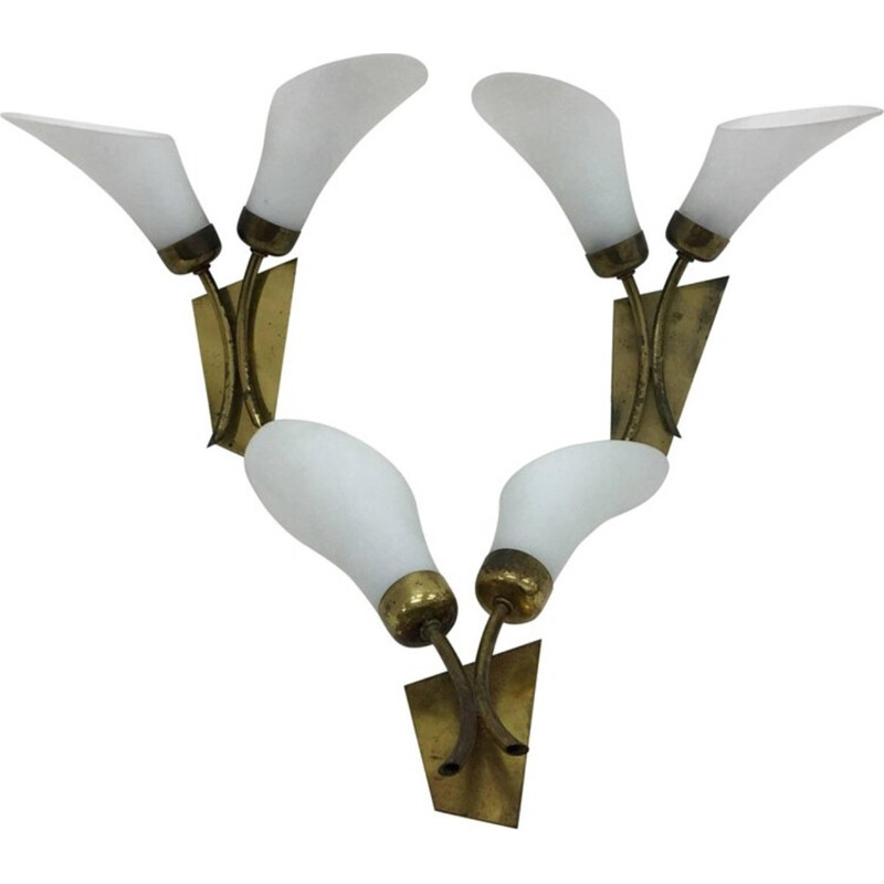 Vintage Set of 3 Italian Brass and White Glass Wall Sconces - 1950s