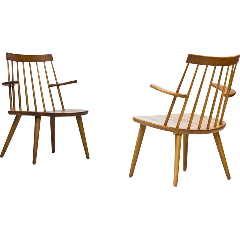 "Vintage Pair of ""Sibbo"" Armchairs in Solid Oak by Yngve Ekström for Stolab - 1960s"