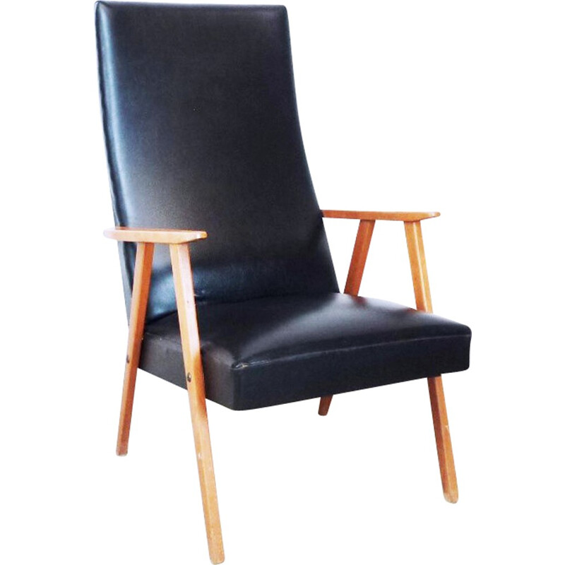 Compass Armchair in black leatherette - 1960s