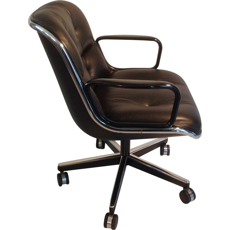vintage office chair. Vintage Desk Armchair In Black Leather By Pollock For Knoll - 1980s Office Chair