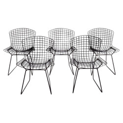 Set of 5 dining chairs, Harry BERTOIA, 1970s