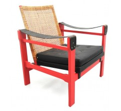 Armchair in leatherette, rattan and wood - 1950s