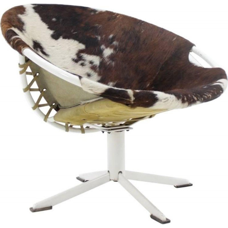 Vintage Cowhdie Leather Circle armchair by Lusch Erzeugnis - 1960s