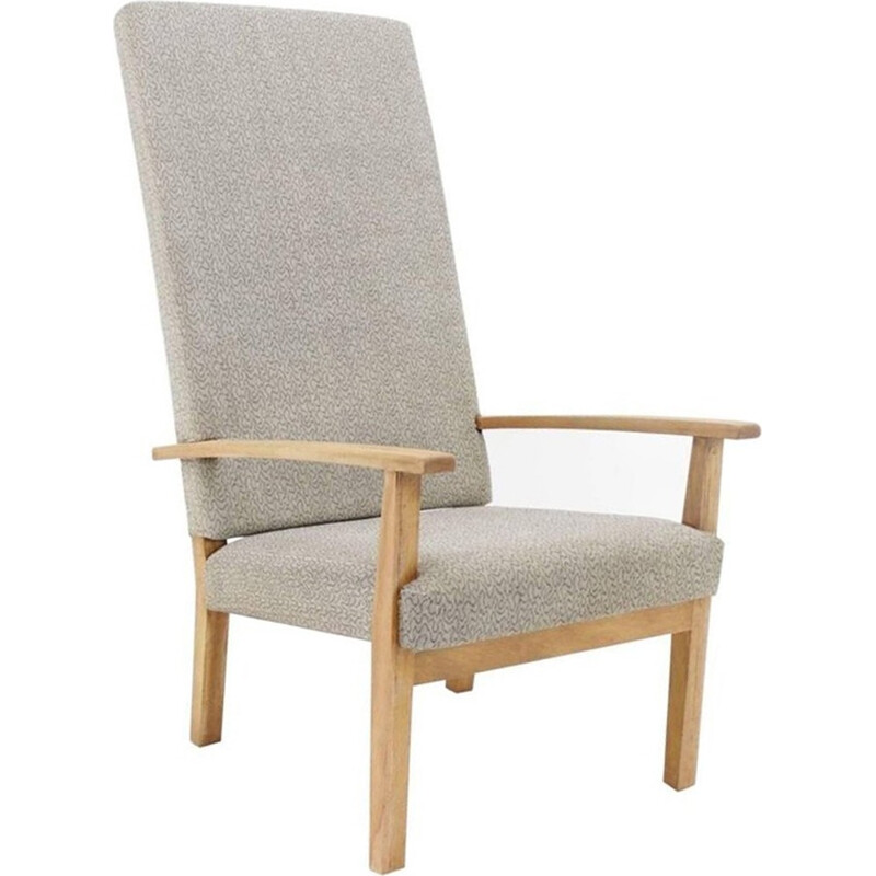 Vintage grey fabric armchair from Czech - 1960s