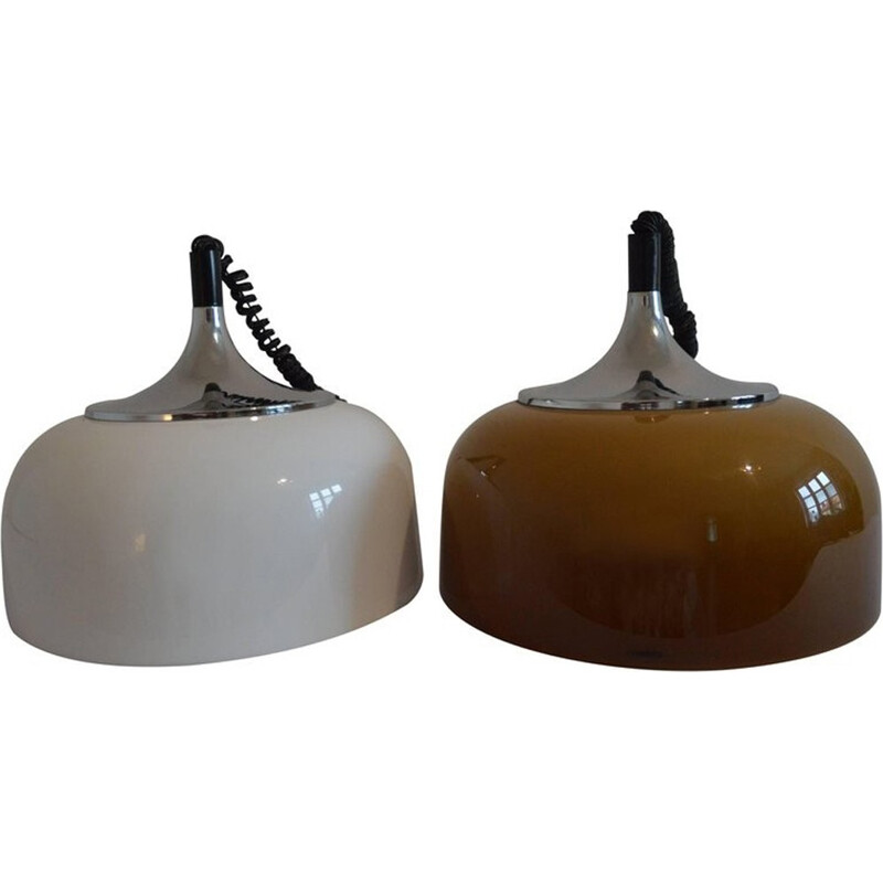 Vintage Pair of Pendant Lights Meblo by Harvey Guzzini - 1970s