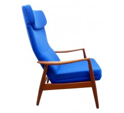 "Teak Lounge chair model ""Tove"" in blue fabric, MADSEN and SCHUBEL - 1960"