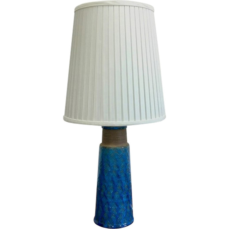 Large Table Lamp in Stoneware with Turquoise Colored Glazing by Nils Kähler for HAK - 1960s