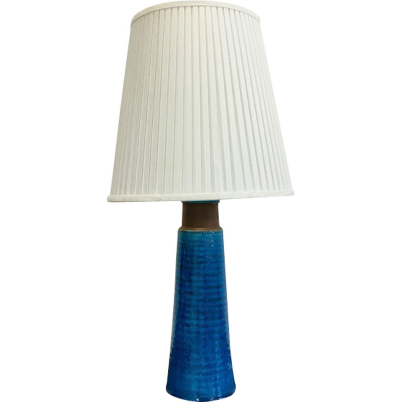 Large Table Lamp in stoneware with Turquoise Colored Glazing by Nils Kähler - 1960s