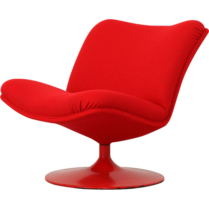"""Red Lounge Chair """"Model F504"""" by Geoffrey Harcourt for Artifort Model - 1970s"""