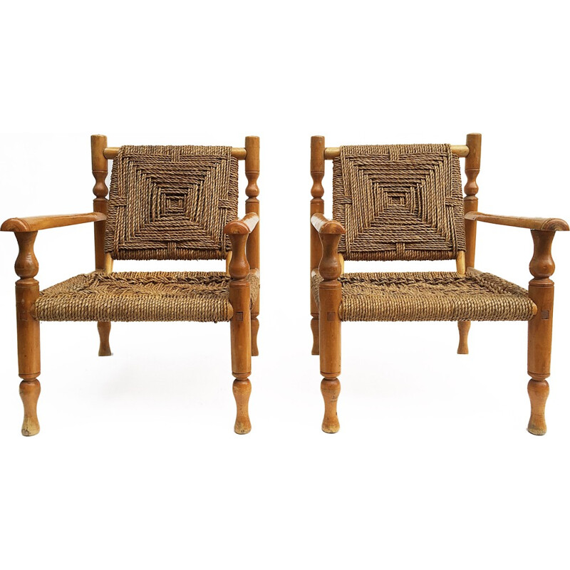 Set of 2 Vintage Wood Armchair - 1950s