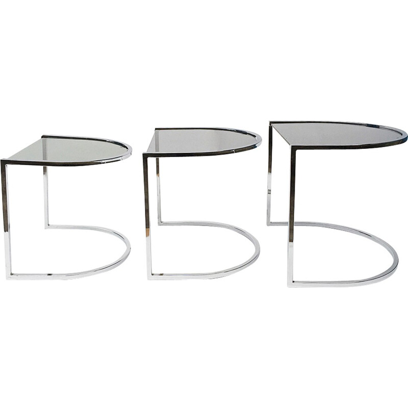 Set of 3 Vintage Chrome and Glass Nest Tables - 1970s