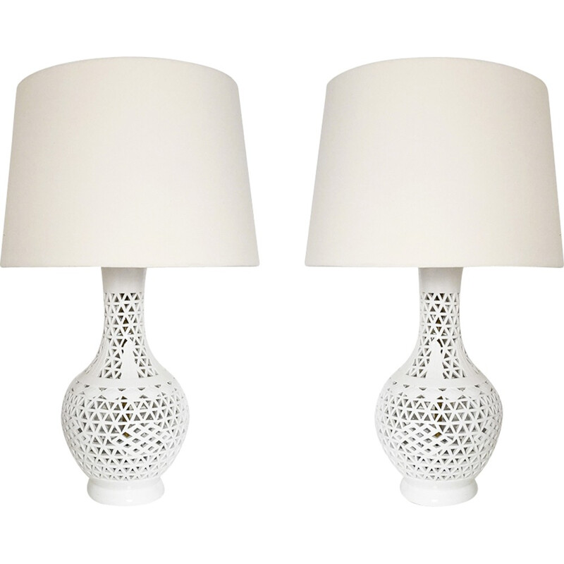 Vintage Pair Of Blanc De Chine Table Lamps - 1970s