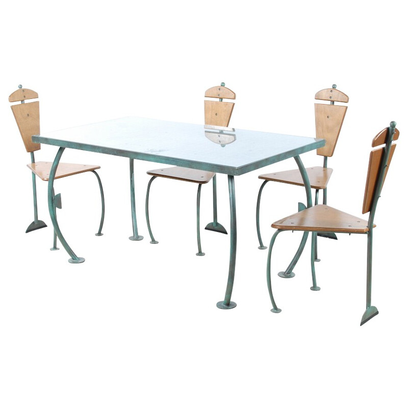 Diner set in bronzed iron, glass and wood, Jos LAUGS - 1980s