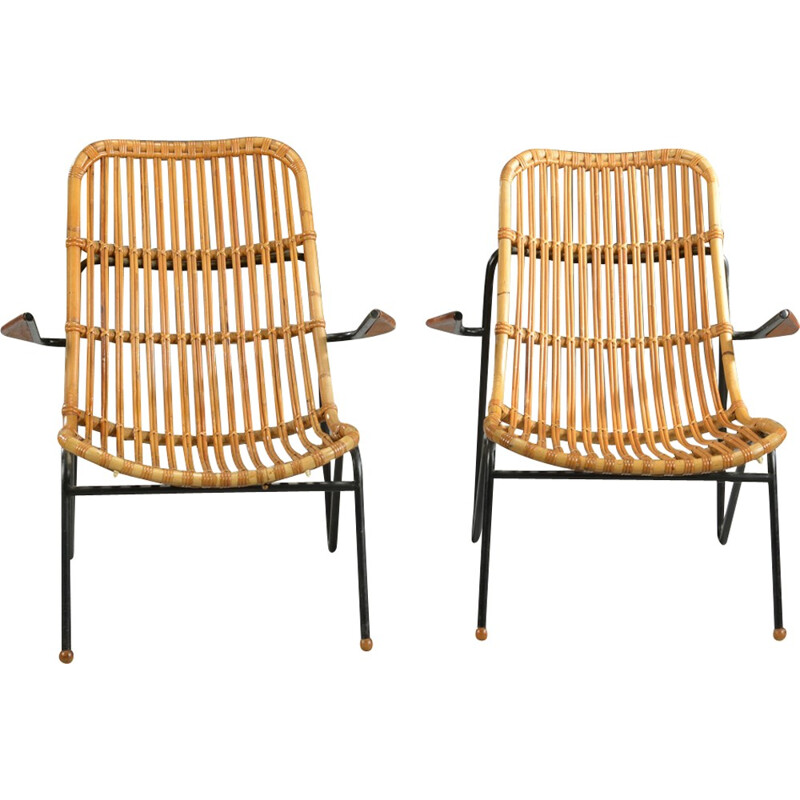 Set of 2 vintage Bamboo armchairs by Laurids Lønborg - 1960s