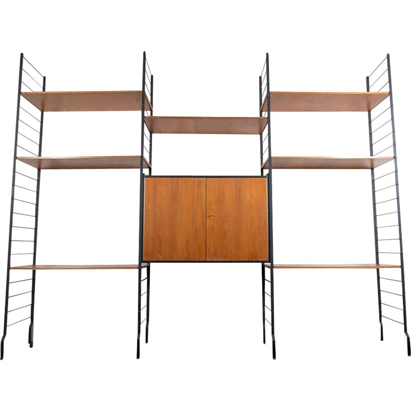 Vintage wall unit in teak - 1960s