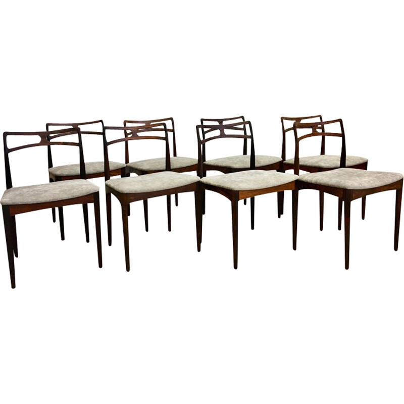Set of 8 Danish Dining Chairs in rosewood by Johannes Andersen for Christian Linneberg - 1960s