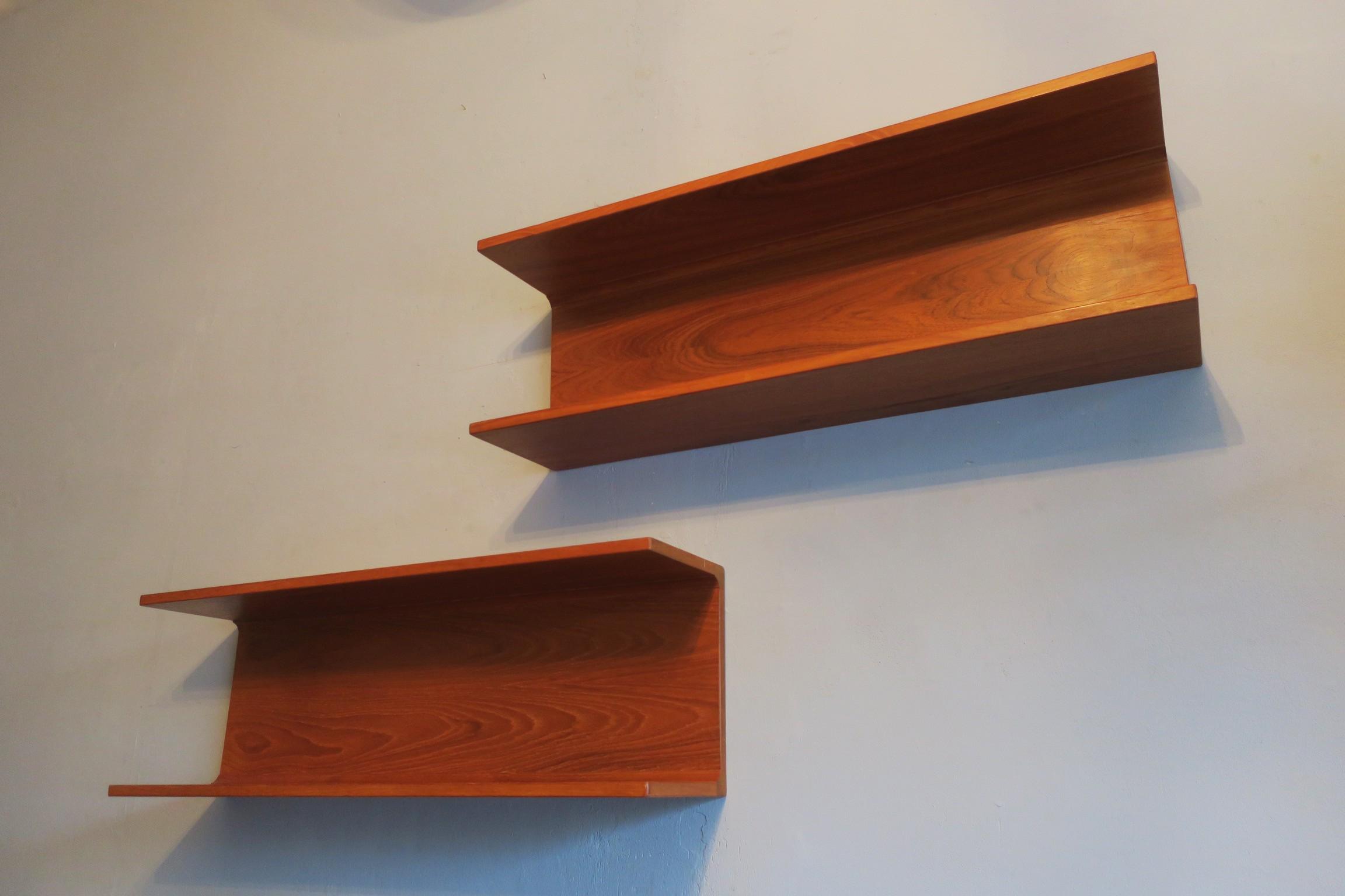 Pair Of Vintage Floating Teak Shelves By Pedersen And