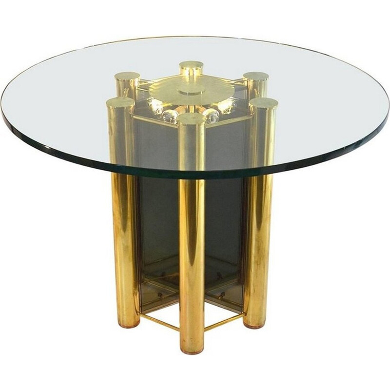 Vintage Round Dining Table in Brass - 1960s