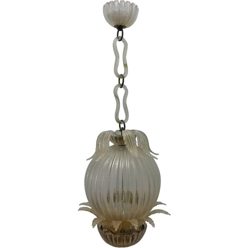 Leaf Chandelier with Murano Glass Cup by Barovier & Toso - 1960s
