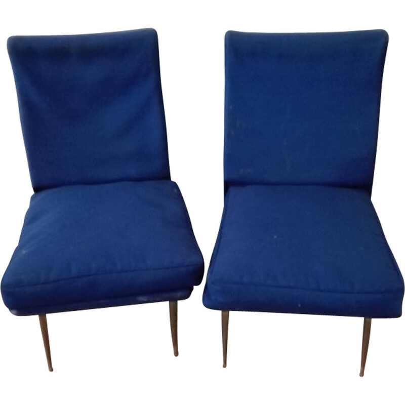Set of 2 vintage italian chairs Fitted with blue Fabric & brass Feet - 1950s