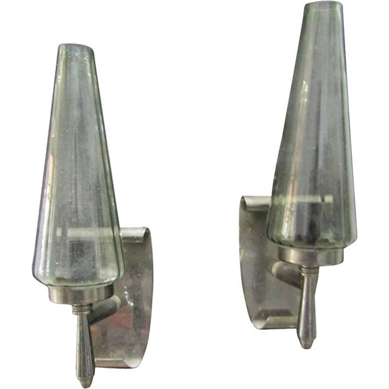 Set 2 vintage wall lamps in bent Metal & glass - 1950s