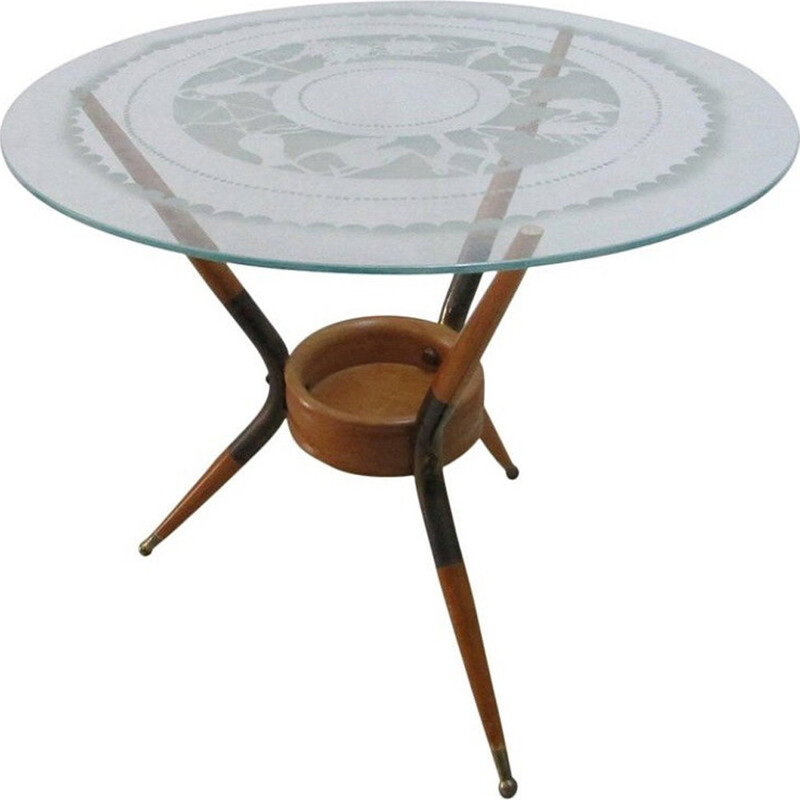 Coffee table in wood and brass by Paolo Buffa - 1940s