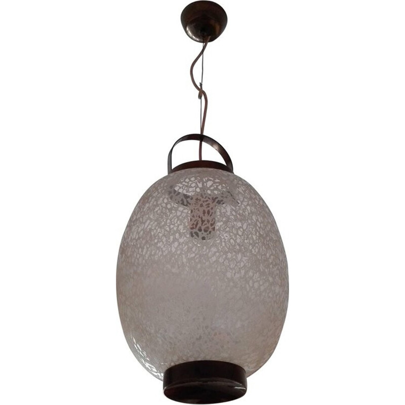 Vintage italian pendant lamp in Brass and Glass - 1950s
