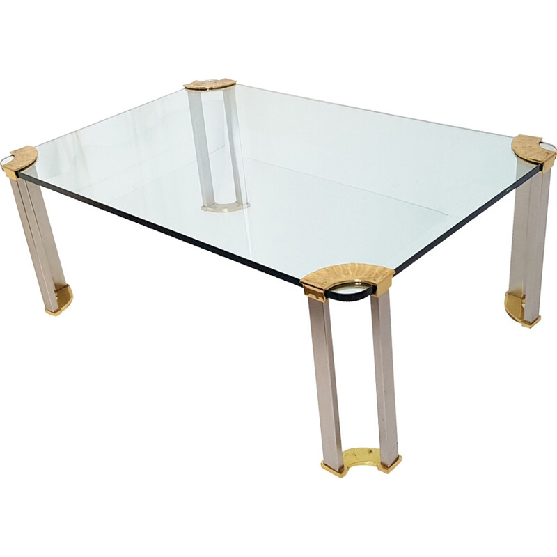 Coffee table in brass, steel and glass - 1970s