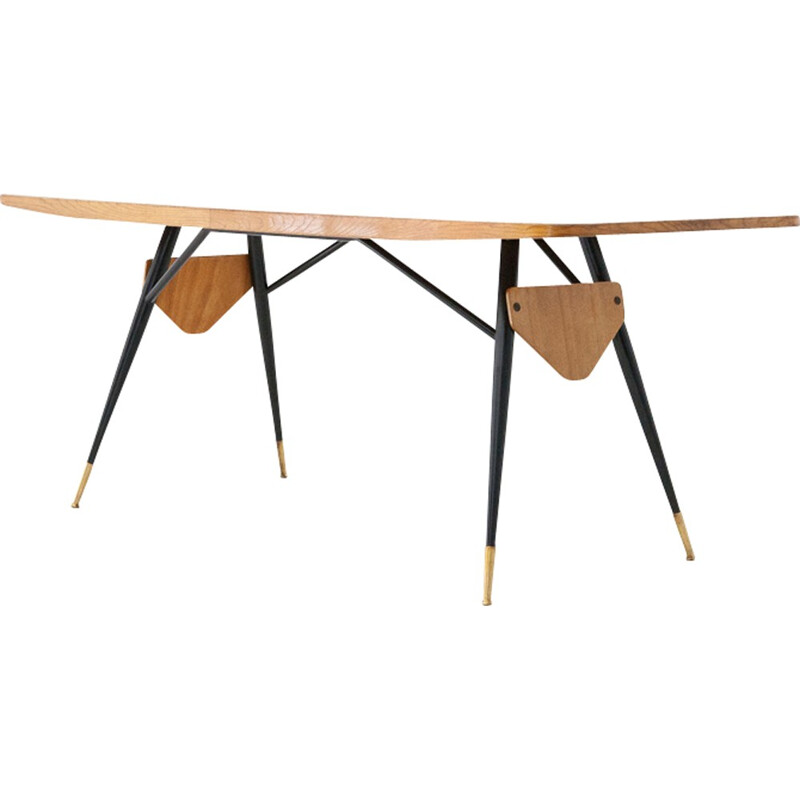 Vintage Italian conference table in oak and brass - 1950s