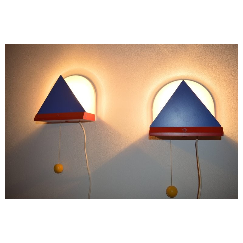 Vintage Pair Of Wall Lamps By Memphis Milano For Ikea Memphis