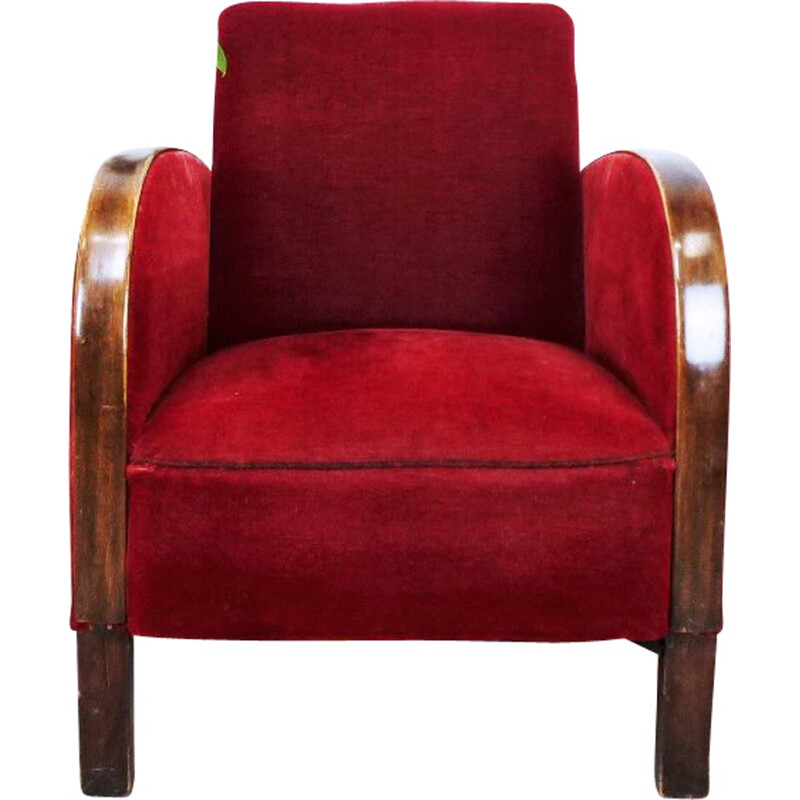Vintage Armchair in red velvet - 1930s