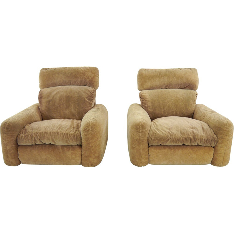 Vintage pair of lounge chairs by Arrigo Arrigonai for Busnelli Piumotto - 1970s