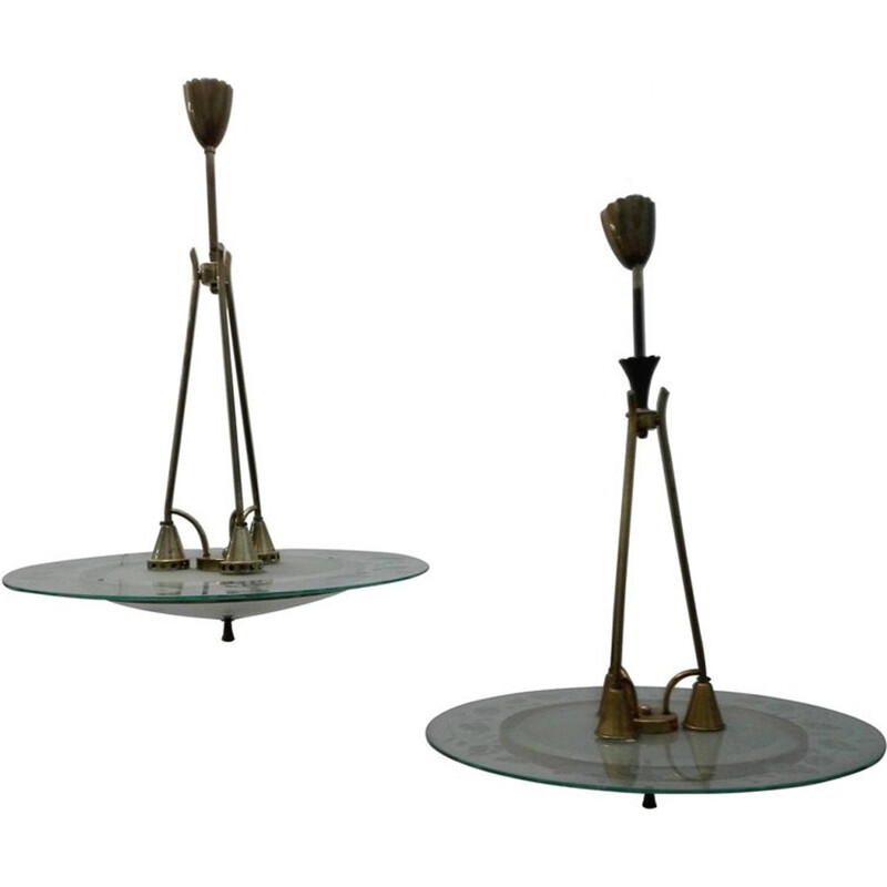 Vintage pair of brass and glass chandeliers by Pietro Chiesa for Fontana Arte - 1950s