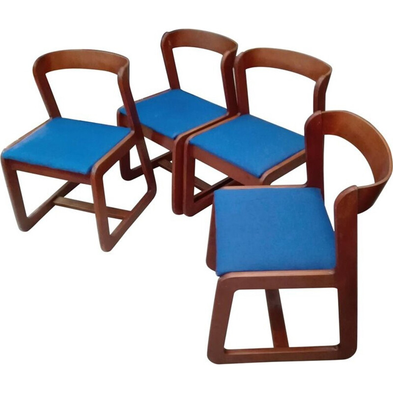 Vintage set of 4 chairs by Willy Rizzo for Mario Sabot - 1970s