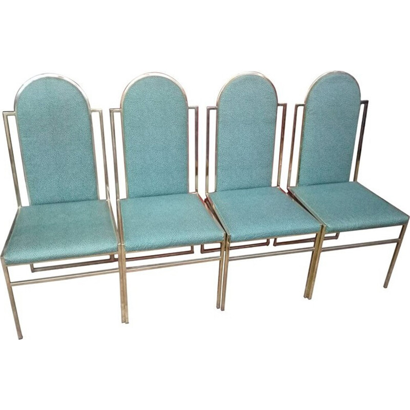 Vintage set of 4 dining Chairs with Brass Frame by Romeo Rega - 1970s